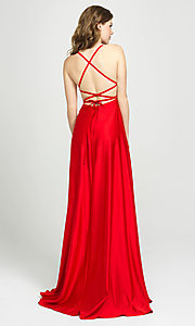 Image of open-back designer prom dress by Madison James. Style: NM-19-115 Back Image
