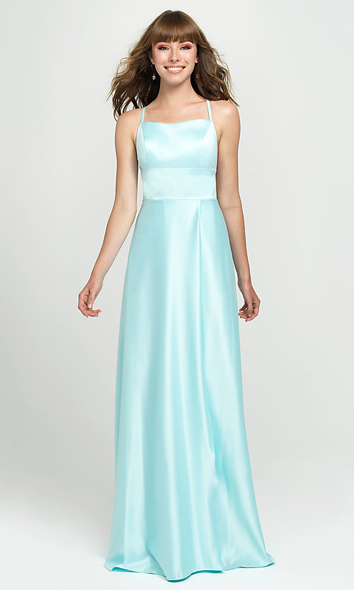 Image of open-back designer prom dress by Madison James. Style: NM-19-115 Detail Image 2