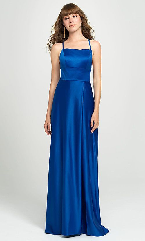 Image of open-back designer prom dress by Madison James. Style: NM-19-115 Detail Image 4