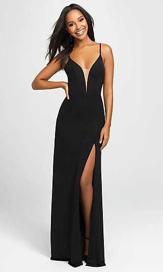 Long Glitter Open-Back Sleeveless Prom Dress