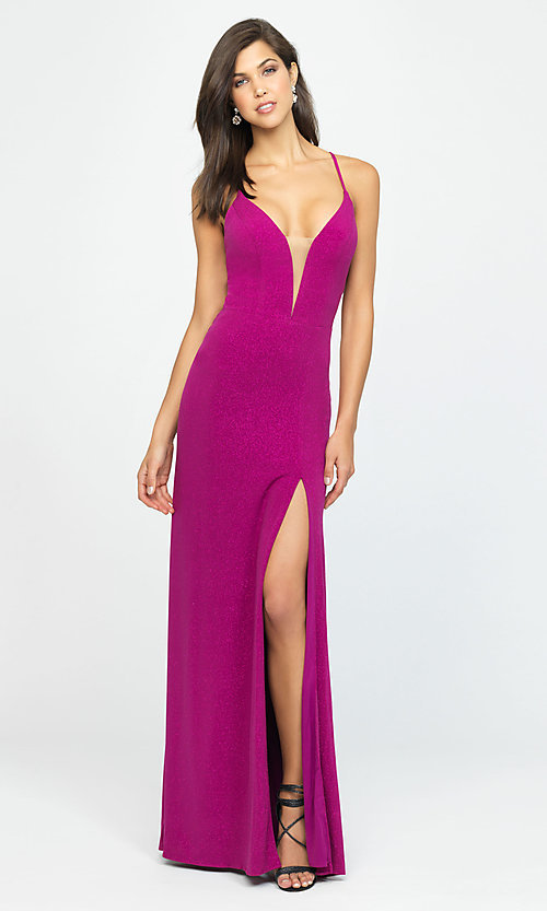 Image of long sparkly formal prom dress by Madison James. Style: NM-19-154 Detail Image 3