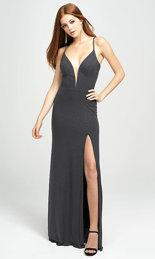 Image of long sparkly formal prom dress by Madison James. Style: NM-19-154 Detail Image 5