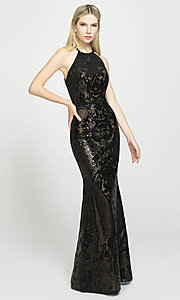 Image of long sequin prom dress with keyhole back.  Style: NM-19-173 Detail Image 4