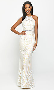 Image of long sequin prom dress with keyhole back.  Style: NM-19-173 Detail Image 3