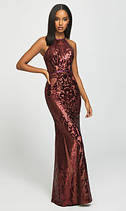 Image of long sequin prom dress with keyhole back.  Style: NM-19-173 Front Image