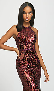 Image of long sequin prom dress with keyhole back.  Style: NM-19-173 Detail Image 1