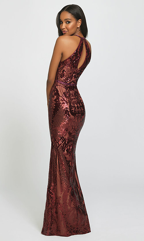 Image of long sequin prom dress with keyhole back.  Style: NM-19-173 Back Image