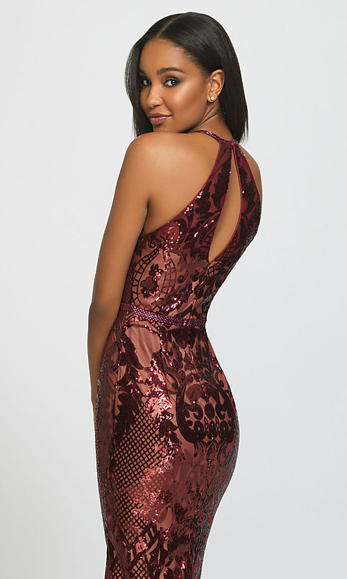 Image of long sequin prom dress with keyhole back.  Style: NM-19-173 Detail Image 2