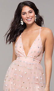 Image of wine red v-neck tulle prom dress by Kalani Hilliker. Style: SJP-KH118w Detail Image 1