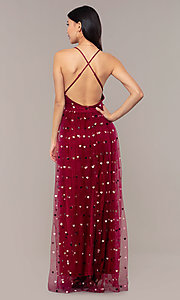 Image of wine red v-neck tulle prom dress by Kalani Hilliker. Style: SJP-KH118w Detail Image 6