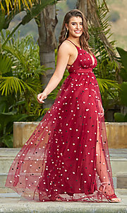 Image of wine red v-neck tulle prom dress by Kalani Hilliker. Style: SJP-KH118w Detail Image 4