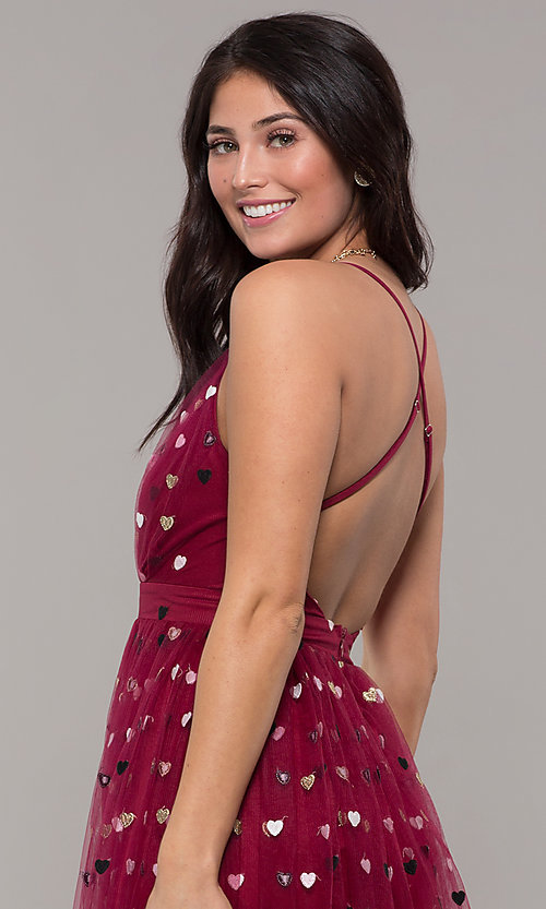 Image of wine red v-neck tulle prom dress by Kalani Hilliker. Style: SJP-KH118w Detail Image 7