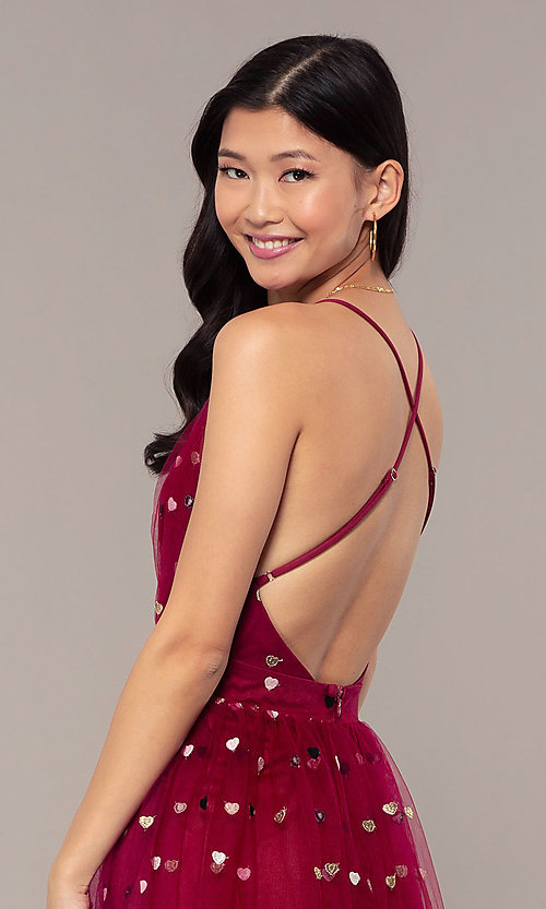 Image of wine red v-neck tulle prom dress by Kalani Hilliker. Style: SJP-KH118w Detail Image 8