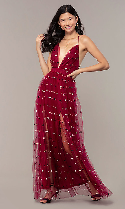 Image of wine red v-neck tulle prom dress by Kalani Hilliker. Style: SJP-KH118w Detail Image 5