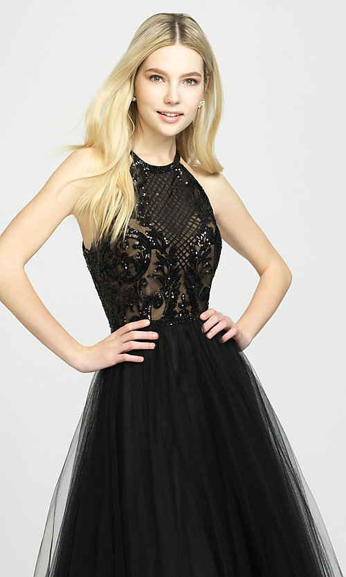 Image of ball-gown-style designer prom dress by Madison James. Style: NM-19-174 Detail Image 2