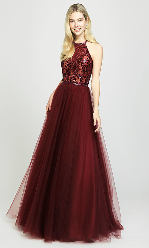 Image of ball-gown-style designer prom dress by Madison James. Style: NM-19-174 Detail Image 3