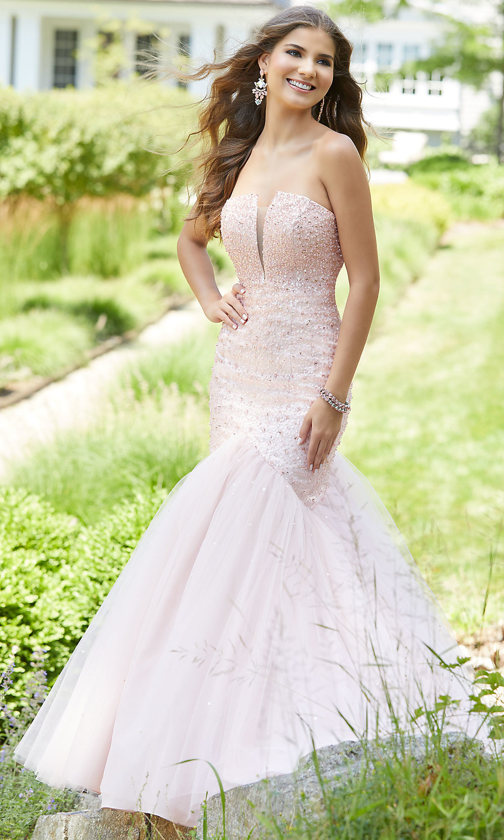 829b3a6c11d Long Beaded Strapless Trumpet Prom Dress by Mori Lee