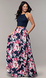 Image of two-piece long floral-print prom dress by PromGirl. Style: MCR-PL-2401L Front Image