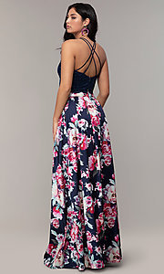 Image of two-piece long floral-print prom dress by PromGirl. Style: MCR-PL-2401L Back Image