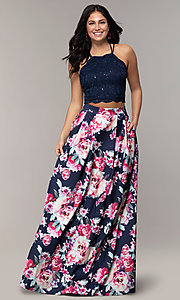Image of two-piece long floral-print prom dress by PromGirl. Style: MCR-PL-2401L Detail Image 3
