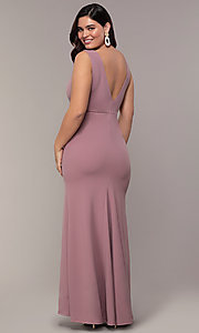 Image of long mauve v-neck plus-size prom dress by Simply. Style: MCR-SD-2593 Back Image
