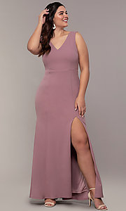 Image of long mauve v-neck plus-size prom dress by Simply. Style: MCR-SD-2593 Detail Image 3
