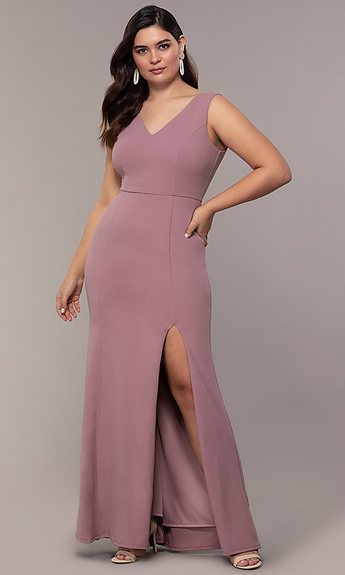 Image of long mauve v-neck plus-size prom dress by Simply. Style: MCR-SD-2593 Front Image