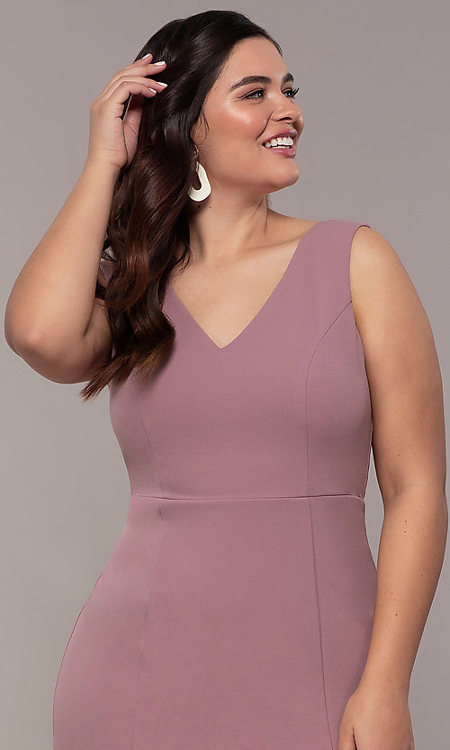 Image of long mauve v-neck plus-size prom dress by Simply. Style: MCR-SD-2593 Detail Image 1