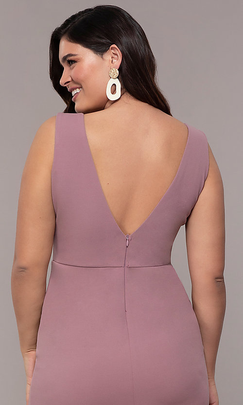 Image of long mauve v-neck plus-size prom dress by Simply. Style: MCR-SD-2593 Detail Image 2