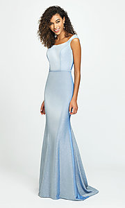 Image of Madison James long sparkly formal prom dress. Style: NM-19-175 Front Image