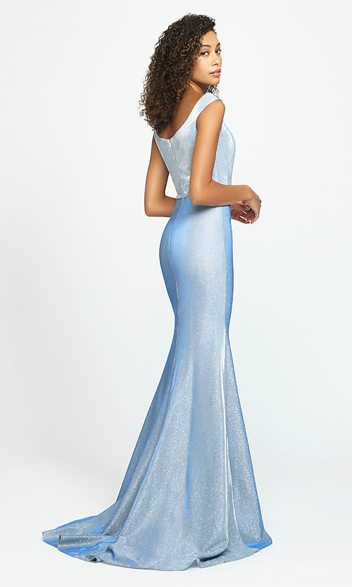 Image of Madison James long sparkly formal prom dress. Style: NM-19-175 Back Image