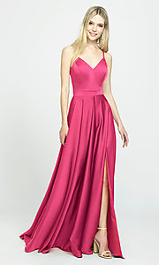 Image of classic long prom dress with spaghetti straps. Style: NM-19-178 Detail Image 3