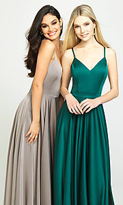 Image of classic long prom dress with spaghetti straps. Style: NM-19-178 Detail Image 2