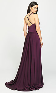 Image of classic long prom dress with spaghetti straps. Style: NM-19-178 Back Image