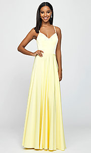 Image of classic long prom dress with spaghetti straps. Style: NM-19-178 Front Image
