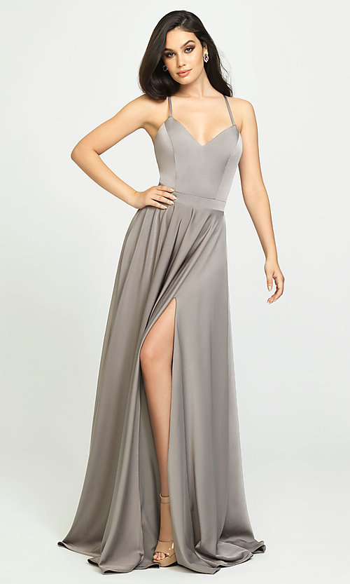 Image of classic long prom dress with spaghetti straps. Style: NM-19-178 Detail Image 1