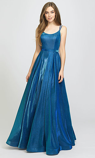 Long Glitter A-Line Prom Dress with Pockets