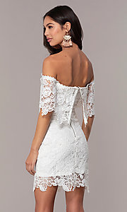 Image of ivory lace off-shoulder graduation dress by Simply. Style: JTM-SD-JMD7605-I Back Image