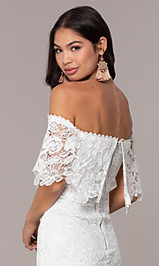 Image of ivory lace off-shoulder graduation dress by Simply. Style: JTM-SD-JMD7605-I Detail Image 2