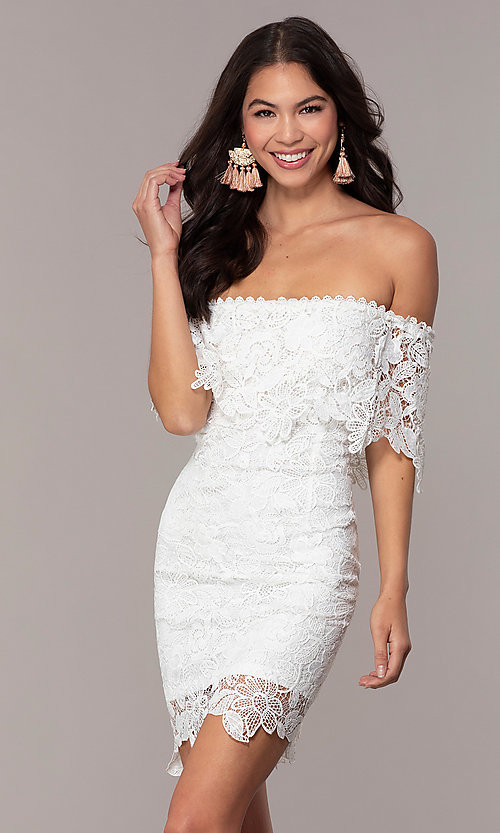 Image of ivory lace off-shoulder graduation dress by Simply. Style: JTM-SD-JMD7605-I Front Image
