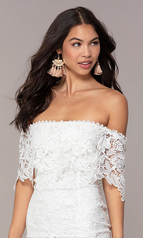 Image of ivory lace off-shoulder graduation dress by Simply. Style: JTM-SD-JMD7605-I Detail Image 1