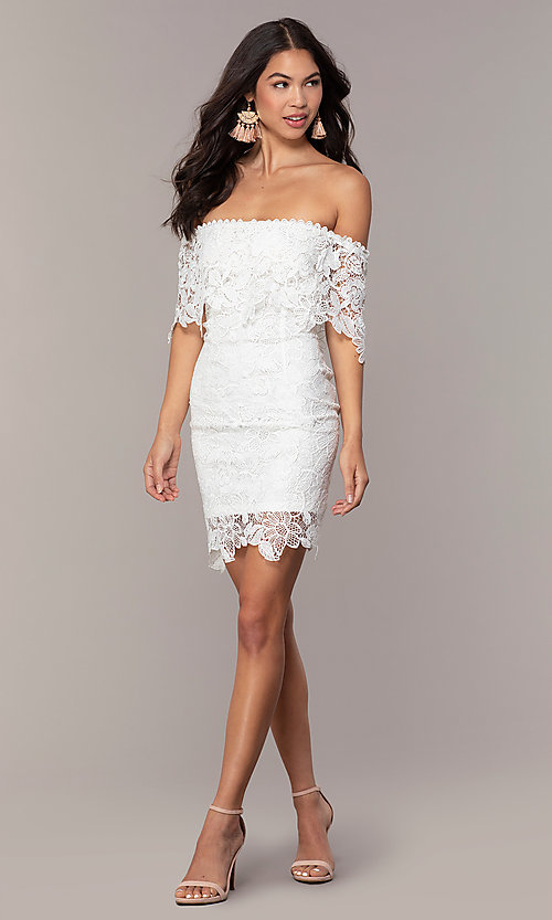 Image of ivory lace off-shoulder graduation dress by Simply. Style: JTM-SD-JMD7605-I Detail Image 3