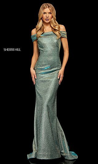 Long Metallic Glitter Prom Dress by Sherri Hill