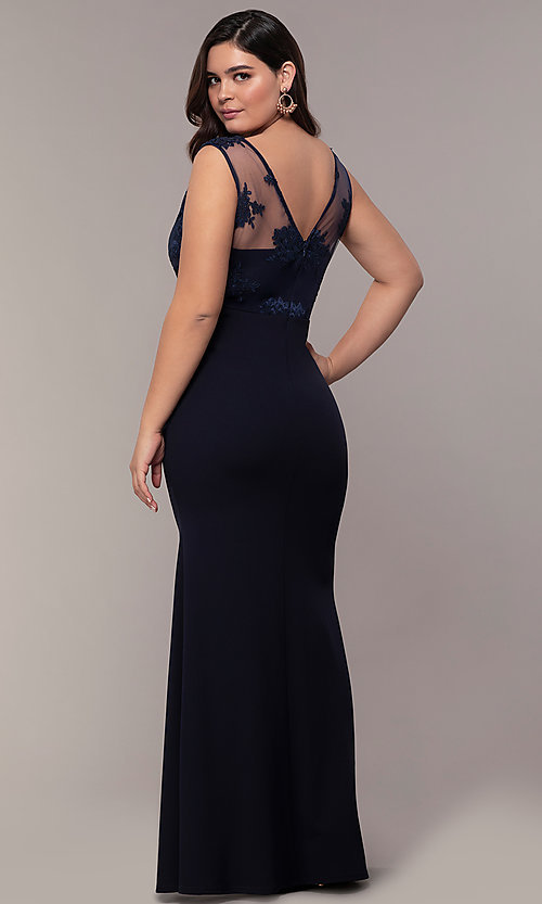 Image of navy blue long v-neck plus prom dress by Simply. Style: MCR-SD-3090 Back Image