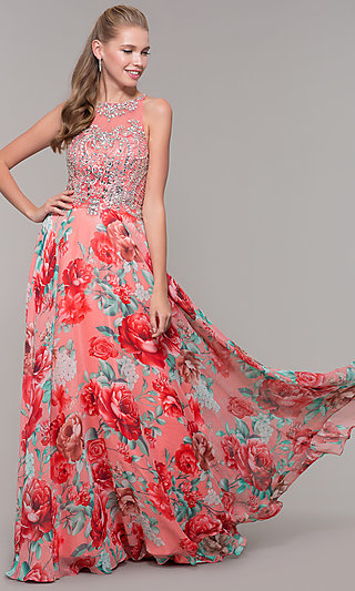 Long Floral-Print Prom Dress with Sheer Bodice