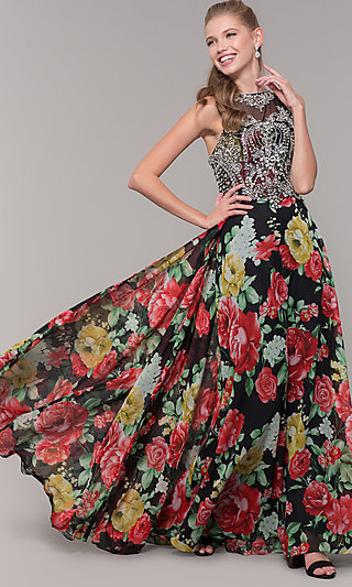 Long Floral Print Prom Dress with Sheer Embellished Bodice