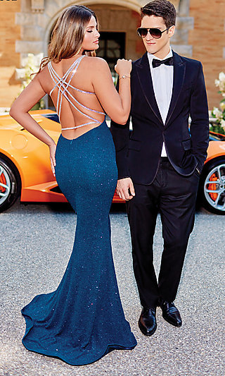 Long Glitter Fitted Prom Dress with a Strappy Back