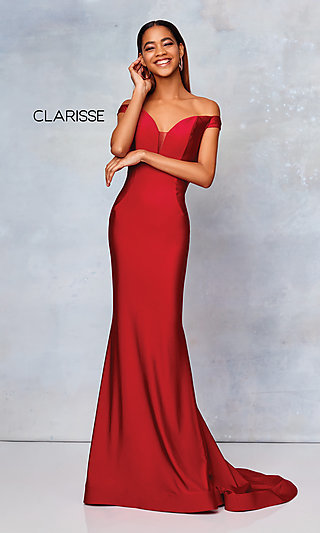 Long Fitted Off-the-Shoulder Prom Dress