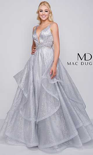 Long Metallic Ball Gown-Style Mac Duggal Prom Dress