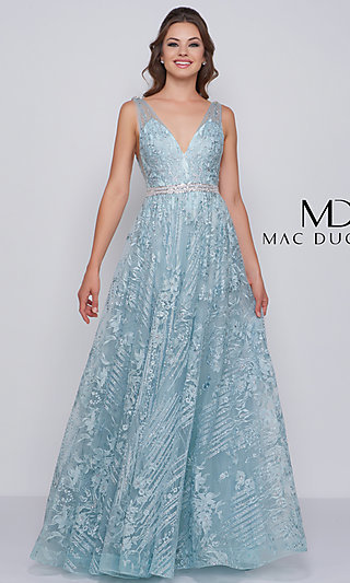 Long Embroidered Designer Prom Dress by Mac Duggal